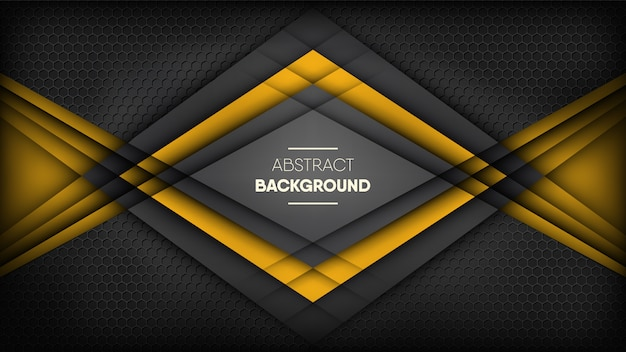 Abstract black and yellow stripes on metallic black honeycomb background.