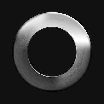 ユーザーインターフェイスアプリ用の抽象的な空白の金属リングボタンテンプレート現実的な金属フープ