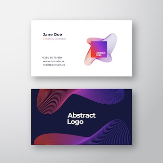 Abstract blend emblem sign or logo and business card template.