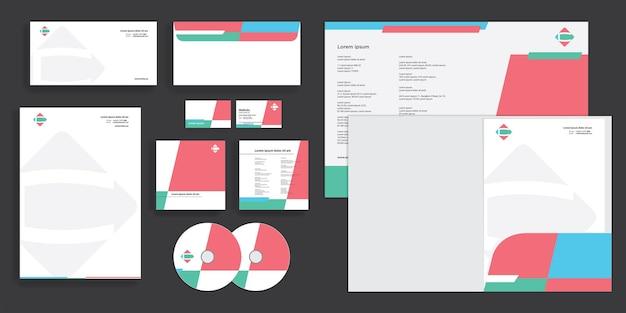Abstract block bold shape modern corporate business identity stationary