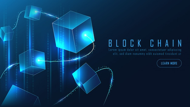 Abstract blockchain banner in futuristic concept