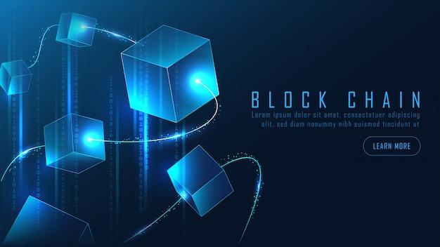 Абстрактный блокчейн баннер в футуристической концепции