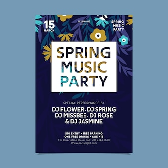 Abstract blossom flowers spring party poster template