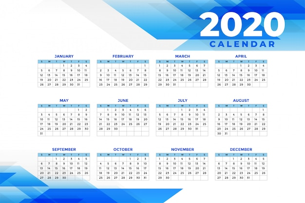Abstract blue 2020 calendar template
