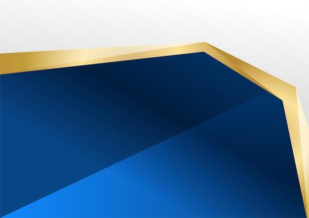 抽象的な青と金の背景。豪華なネイビーブルーの背景は、輝く金色の線の要素と組み合わされています。バナー、ポスター、プレゼンテーションデザイン、チラシのオーバーラップレイヤーテクスチャ背景デザイン
