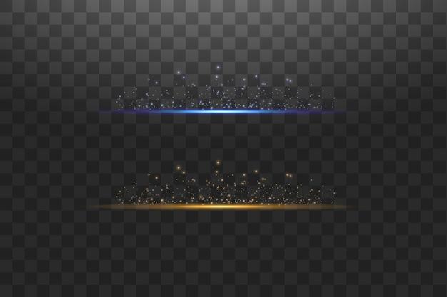 투명 한 배경 그림에 추상 파란색과 금색 조명 라인. 모든 이미지를 쉽게 교체 할 수 있습니다. 선에 밝은 빛이 번쩍입니다.