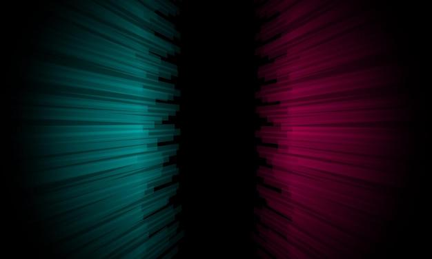 검정색 배경에 추상 파란색과 분홍색 원근선. 당신의 배경 화면을 위한 디자인.