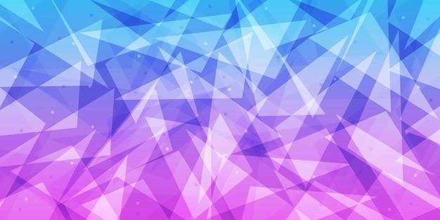 抽象的な青と紫のグラデーション低ポリ三角形の背景、多角形の概念