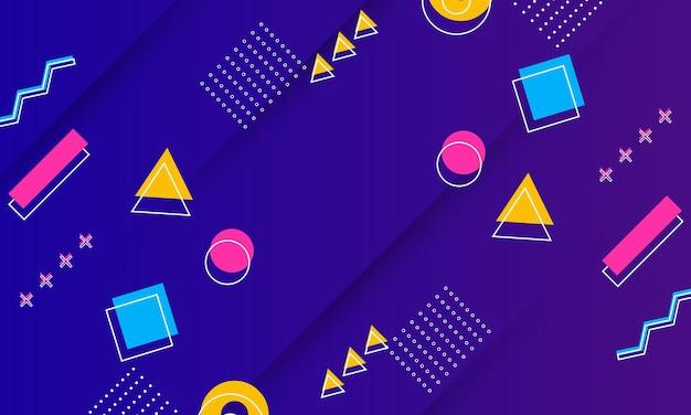 メンフィス要素ベクトル図と抽象的な青と紫のグラデーションテクスチャ