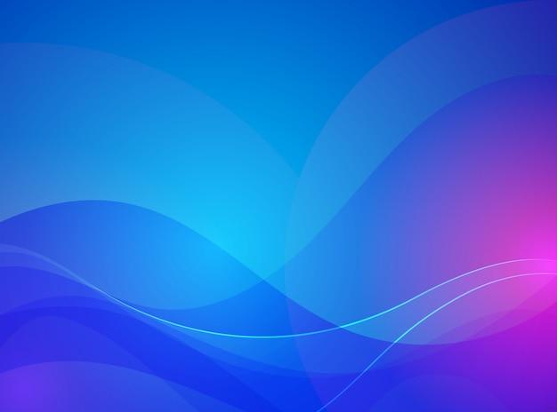 유체 스타일 추상 파란색과 보라색 물결 선 프리미엄 벡터