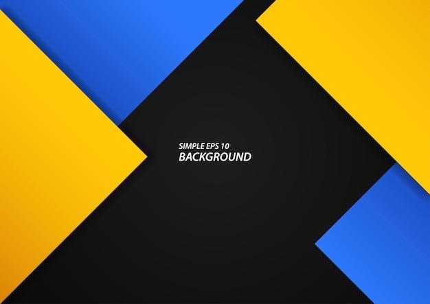 검은 배경, eps 10 벡터에 추상 파란색과 노란색 사각형