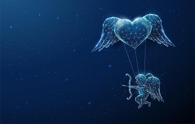 心の下を飛んでいる抽象的な青い天使のキューピッド。幸せなバレンタインデーカード。低ポリスタイルのデザイン。ワイヤーフレームライト構造。