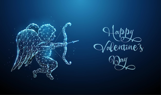 Abstract blue angel cupid with bow and arrow. happy valentine's day card. low poly style glowing.