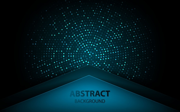 Abstract blue arrow on dark background with glitters