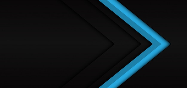 Abstract blue arrow dark shadow direction on black modern futuristic background.