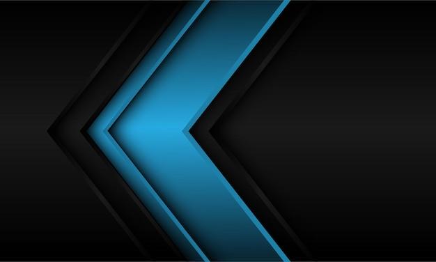 어두운 회색 금속 배경에 추상 파란색 화살표 방향.