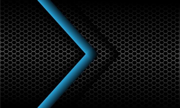 ダークグレーのメタリック六角形メッシュパターンデザインモダンな未来的な背景の抽象的な青い矢印の方向