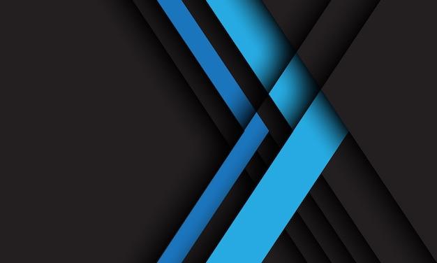 空白のスペースデザイン現代の未来的な技術と濃い灰色の抽象的な青い矢印の方向