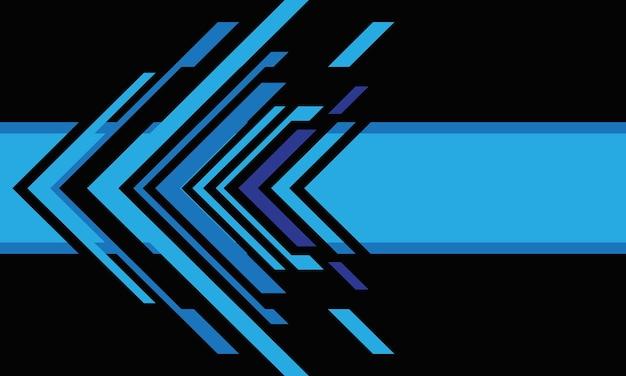 검은 디자인 현대 미래 배경 벡터 일러스트 레이 션에 추상 파란색 화살표 기술.