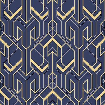 Abstract blue art deco seamless pattern vector