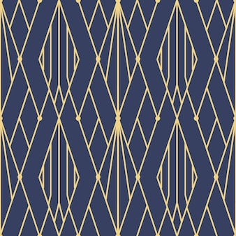 Abstract blue art deco seamless pattern
