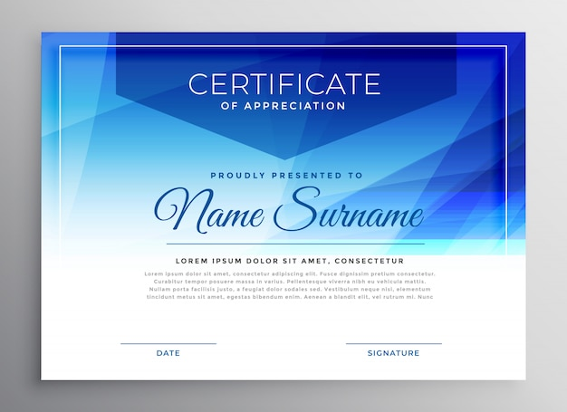 Abstract blue award certificate design template