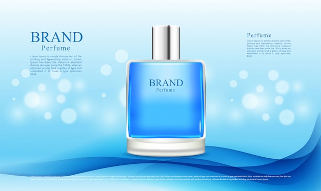 Abstract blue background and bokeh lights for perfume
