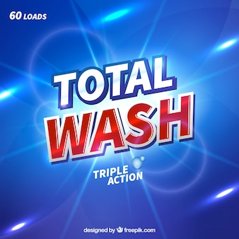 Abstract blue background of detergent with triple action