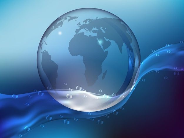 Abstract blue background, splash of crystal clear water with drops. planet earth made of glass in the ocean. realistic style. vector illustration.