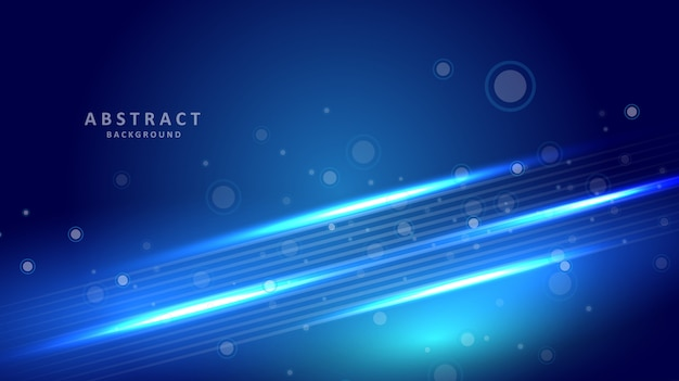Abstract blue background with circle and light line