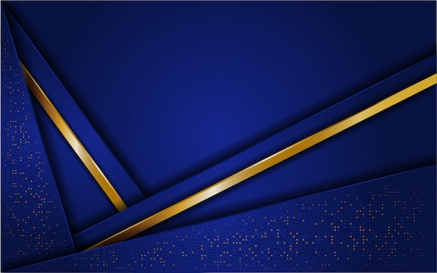 Abstract blue background with glitter and line gold