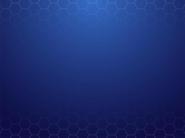 六角形のパターンと抽象的な青い背景。