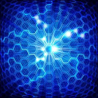 六角形の抽象的な青い背景