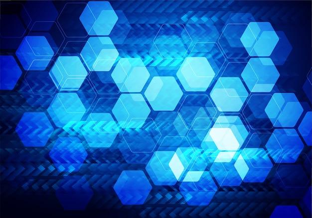 Абстрактный синий фон с шестиугольниками