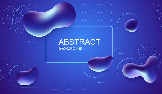 Abstract blue background with liquid bubbles. minimal geometric background with dynamic shapes.