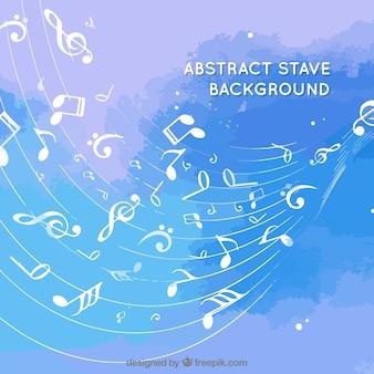Astratto sfondo blu con pentagramma e note musicali