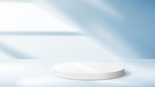 Abstract blue background with white pedestal for product demonstration.