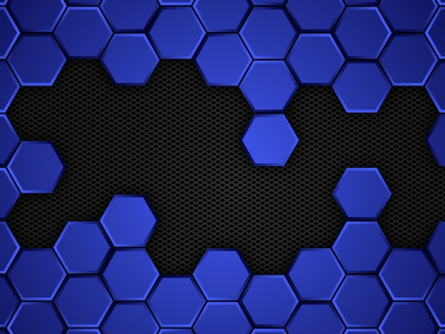 Abstract blue and black background with hexagons.  illustration