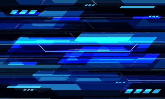 抽象的な青黒サイバー回路幾何学技術未来的な背景ベクトルイラスト。