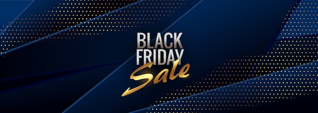 Abstract blue black friday stylish banner