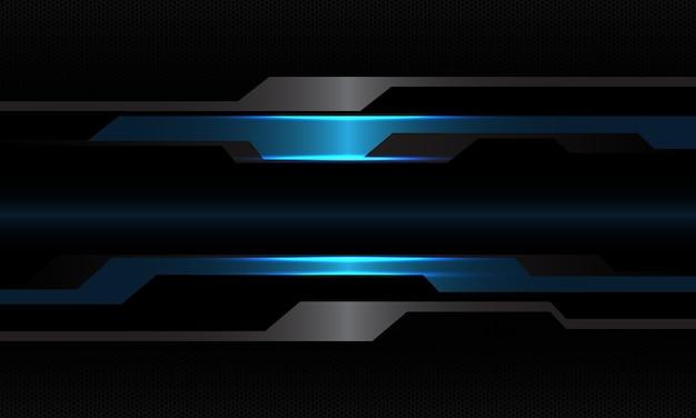 空白のスペースデザイン現代技術未来的な背景を持つ抽象的な青黒メタリックサイバー幾何学
