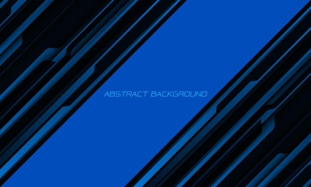空白のスペースで抽象的な青黒メタリックシャドウ黒線サイバー幾何学的ダイナミック