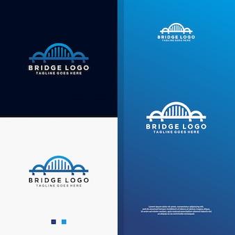 Abstract blue bridge logo.