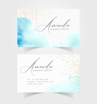 Abstract blue brushes watercolor name card