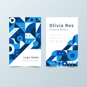 Abstract blue business card with geometrical shapes template