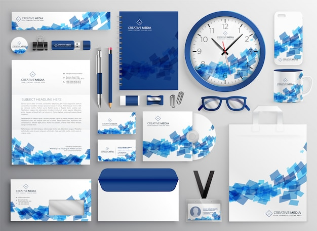 Abstract blue business collateral set design
