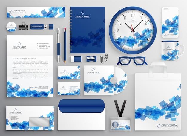 抽象的な青いビジネスの担保セットのデザイン