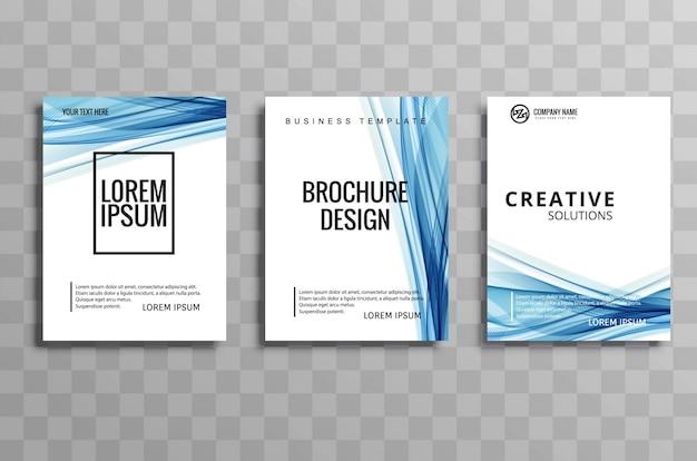 抽象的な青いビジネス波のパンフレットのチラシのイラストデザイン