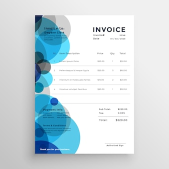 Abstract blue circle invoice template design