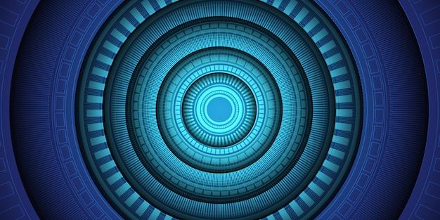추상 파란색 원 빛 기술 미래 배경입니다.